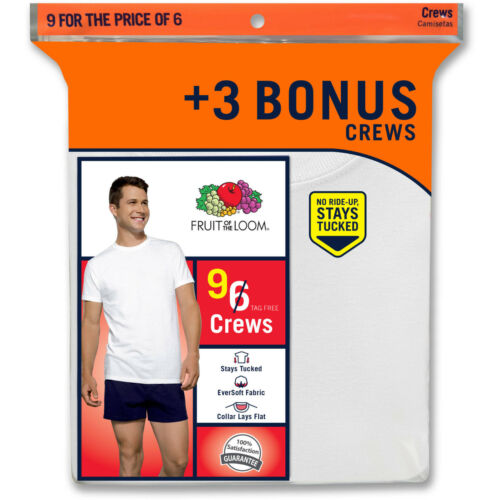 Fruit of the Loom Men/'s Classic White Crew Undershirts 46-48 6+3 Bonus 38-40