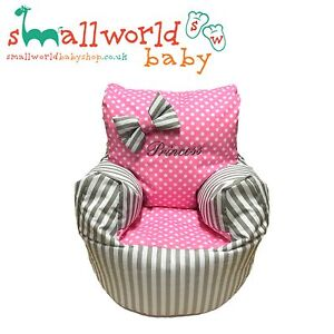 Personalised-Grey-Stripe-And-Pink-Polka-Dot-Bean-Bag-Chair-NEXT-DAY-DISPATCH