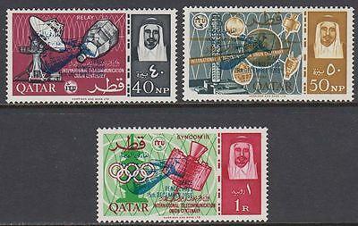 Qatar 1966 ** Mi.99/101c Space Weltraum Gemini with BLUE ovpt.