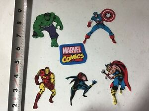 Marvel-Comics-Fabric-Iron-On-Appliques-style-2-Black-Widow-Hulk-Ironman