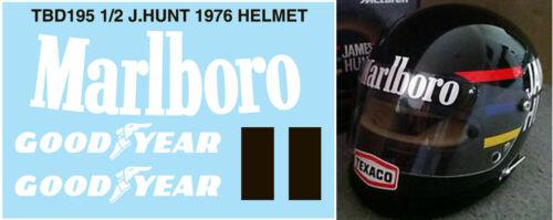 1//2 JAMES HUNT HELMET 1976 SPONSOR FOR BELL MINI DECALS TB DECAL TBD195