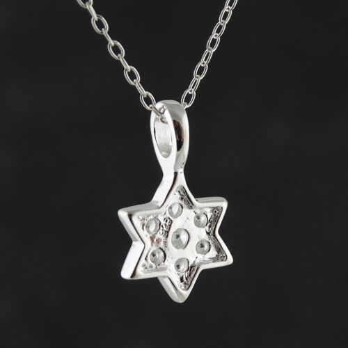 925 Sterling Silver Pendant Jewish Symbol Gift NEW CZ Star of David Necklace