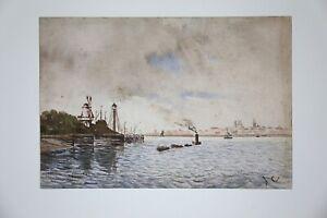Aquarell-Darstellend-Des-Schiff-Vor-Ein-Hafen-Monogramm-Mit-C-Holland