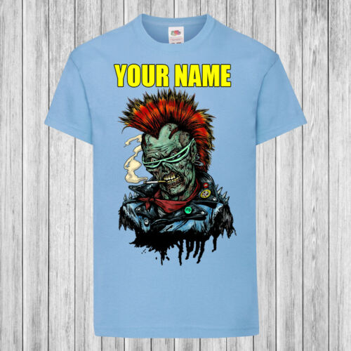Personalized with name Kids T-Shirt DTG Children Punk Zombie