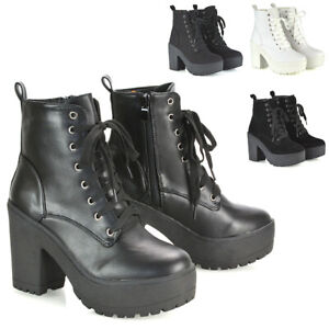 Womens Lace Up Ankle Boots Retro Ladies