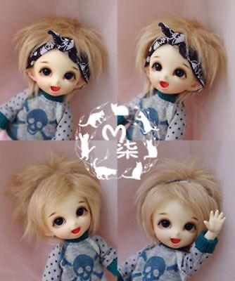 "3/""-4/"" 9-10cm BJD fabric fur wig white for AE PukiFee lati 1//12 Doll Antiskid"