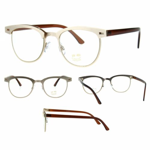 Unique Mod Minimal Simple Half Horn Rim Style Eye Glasses Gold Brown