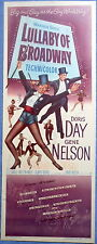 """LULLABY OF BROADWAY MOVIE POSTER 1951 Doris Day Gene Nelson """"The Gay White Way!"""""""