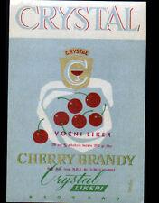 """ETIQUETTE Chromo ANCIENNE de Liqueur CHERRY BRANDY """"CRYSTAL"""" de BEOGRAD"""