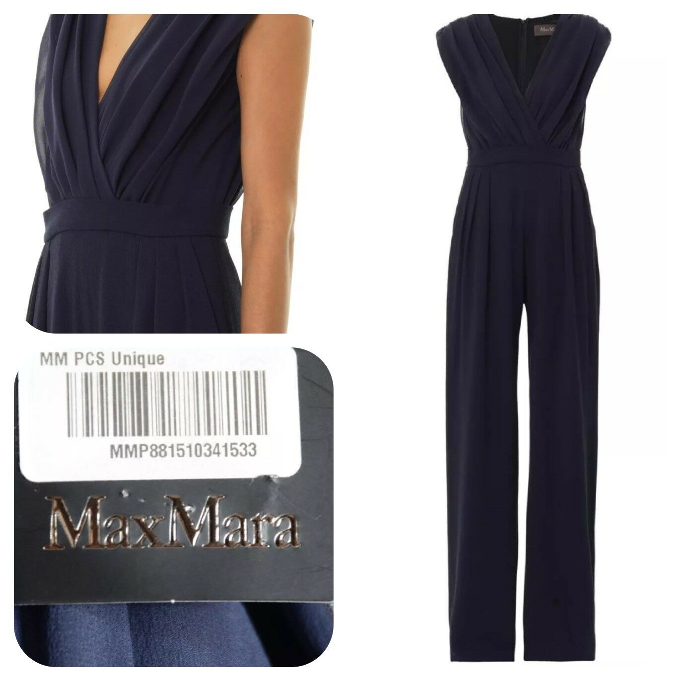 NWT Max Mara Elegante Women's bluee Ocroma Jumpsuit Unfinished Hem Sz US 6  1090