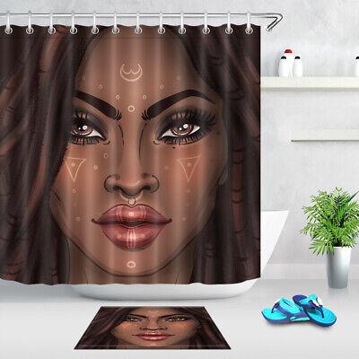 Beautiful American African Afro Black Woman Shower Curtain Set Waterproof Fabric