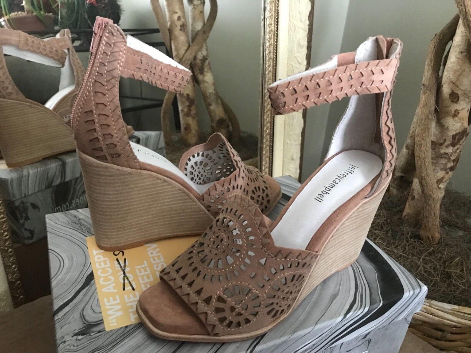 Jeffrey Campbell Del Sol Donna Blush Suede Wedge Sandals 10M MSRP  150