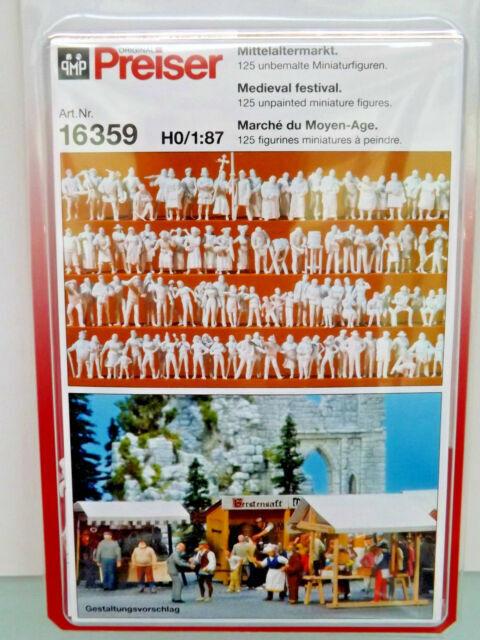 125 Figuren für Mittelalter-Markt Figuren Preiser H0 unbemalt 16359