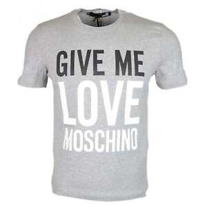 con in shirt cotone grigia logo T Moschino stampato S1Exwp1fq