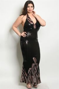 Details about Black Sequin Halter dress gown wit floral design plus size