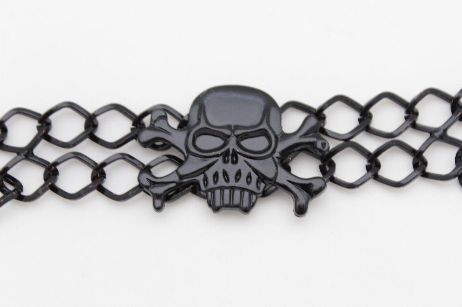 Hot Women Black Metal Chain Boot Strap Bracelet Western Shoe Skull Charm Jewelry