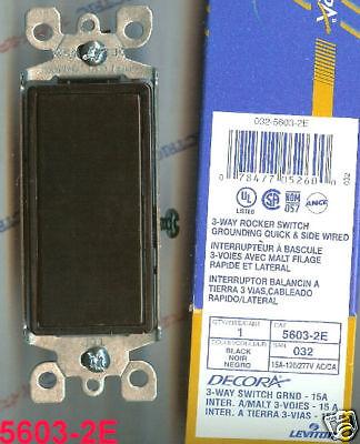 NEW LEVITON 5603-2E 3 WAY 15 Amp Decora Rocker Switch