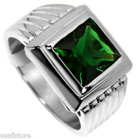 Square Cut Emerald Green Rhodium Plated Ring