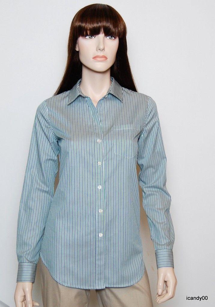 Nwt  Theory Nikala Stripe Cotton Shirt Blouse Tunic Top Grün Weiß XS
