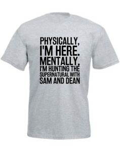 Hunting-the-Supernatural-with-Sam-amp-Dean-Slogan-Printed-Mens-T-Shirt-Casual-Tee