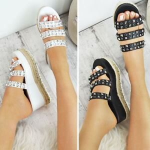 Womens-Ladies-Flatforms-Sandals-Espadrilles-Embellished-Stud-Jewel-Wedges-Size