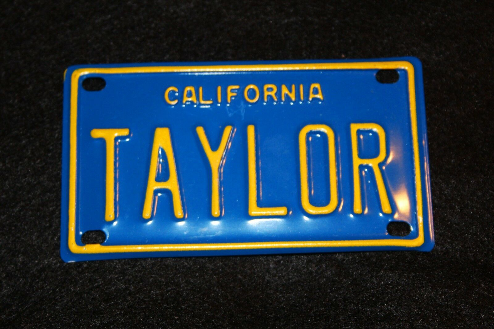 NEW Taylor California Mini Personalized License Plate bluee Great for Kids Bike