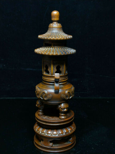 """10/"""" Temple Chinese boxwood wood carved Dragon Tower Incense burner Censer Statue"""