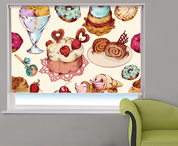 Cakes & Ice Cream Design Food Kitchen Pattern Picture Photo window roller blind