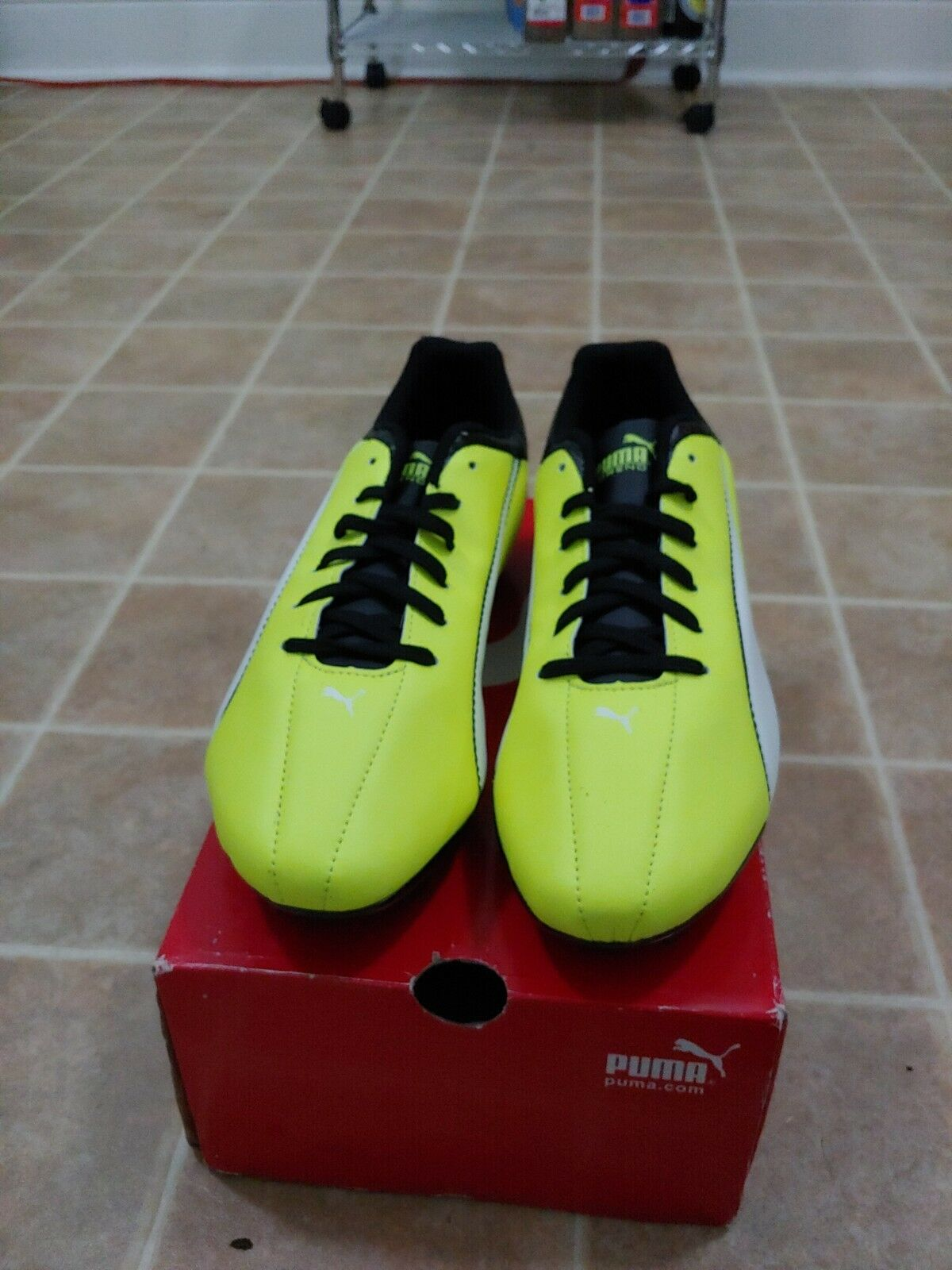 Puma Evo Power Vigor Mens Cleats Black Leather Athletic Soccer Cleats Mens Shoes f04284