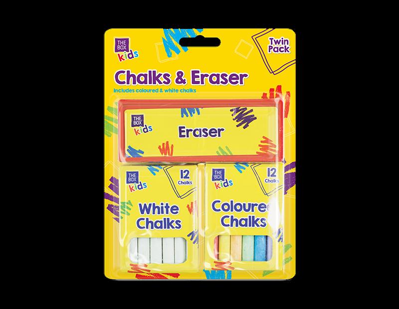 CHALK/&ERASER SET 13 PCS COLOURED WHITE Kids Blackboard Chalks Gift STA1379 UK