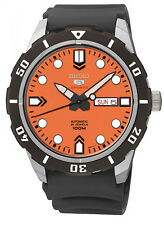Seiko 5 Sports SRP675 Men's Black Rubber Band Orange Dial 100M Automatic Watch