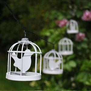 10-LED-Solaire-Metal-Blanc-Cage-D-039-oiseau-Lanterne-Fil-Lumiere-Feerique