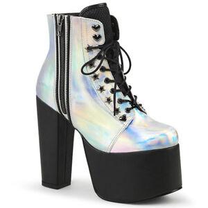 Silver Black 80s Platform Heels Punk