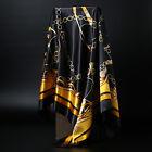 Women's Black&Gold Print Hijab Scarf Silk-Satin Square Head Shawl Scarfs 35