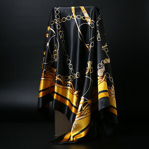 Women-039-s-Black-amp-Gold-Print-Hijab-Scarf-Silk-Satin-Square-Head-Shawl-Scarfs-35-034-35-034
