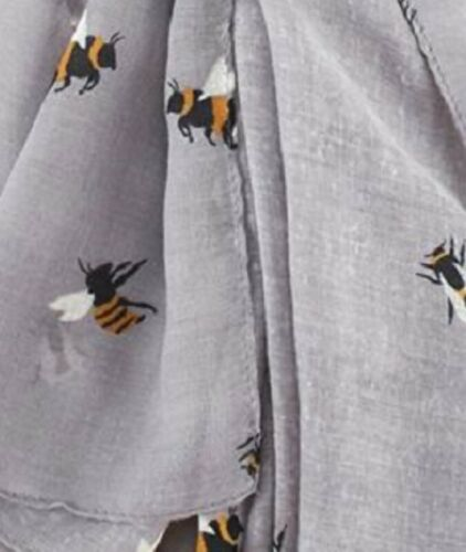 Grey Busy Bees Scarf Silver Bee Scarfs Wrap Shawl Scarves Summer Ladies Gift New