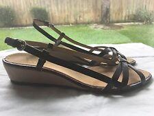 "Aerosoles ""Picnic"" Brown Croc Leather Wedge Slingback Sandals - Women's 8 M / B"