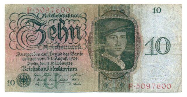 Germany Deutsche Reichsbank Reichsbanknote 10 Reichsmark 11.10 1924 F #168a U