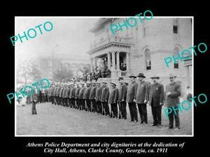 OLD-LARGE-HISTORIC-PHOTO-OF-ATHENS-GEORGIA-POLICE-DEPARTMENT-AT-CITY-HALL-c1911