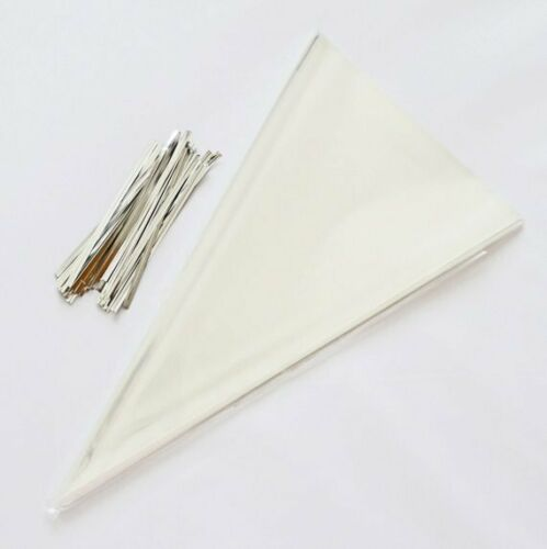 LARGE CONE BAGS /& TIES CLEAR CELLOPHANE TREAT BAGS PARTY FAVOUR KIDS SWEETS