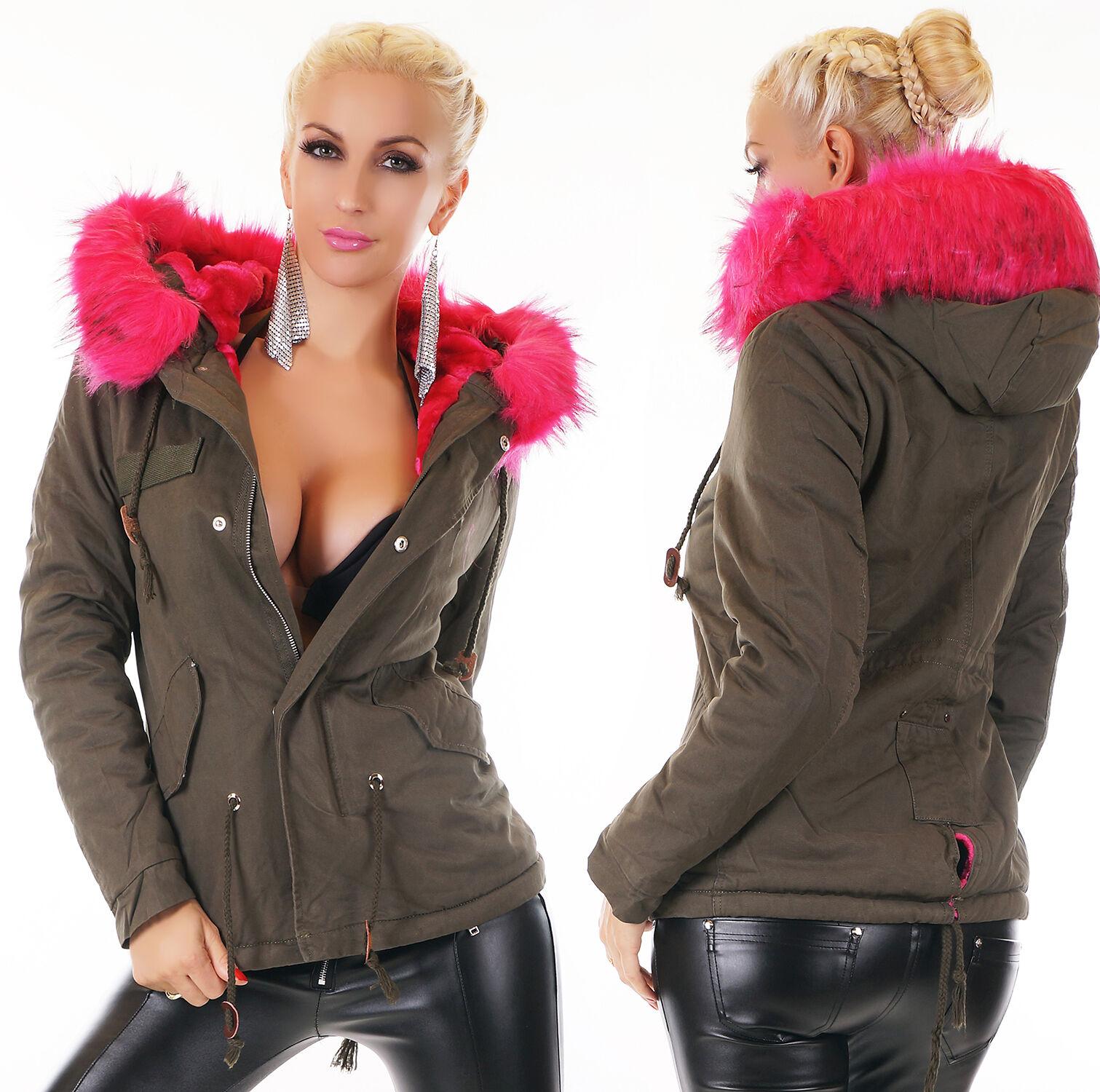 Wow Wow Wow Sexy Ladies short Parka Coat fur Faux fur Pink Cozy Lining Khaki Green S-XL 245d7c