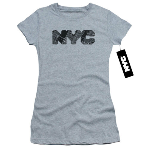 shirt Tee Text Juniors Nyc Heather Fill Map T HwUBv