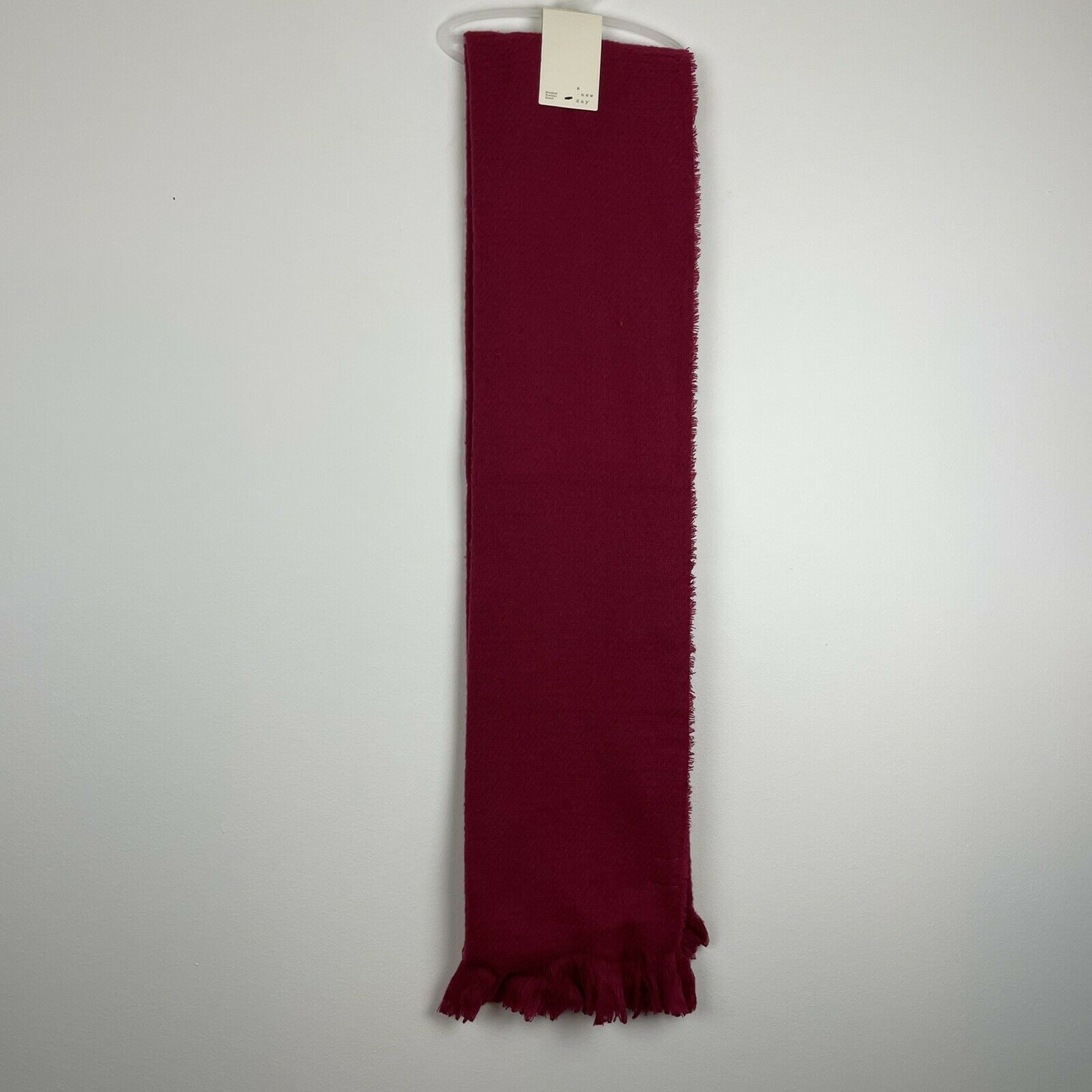 A New Day Red Rose Brushed Blanket Scarf with Fringe