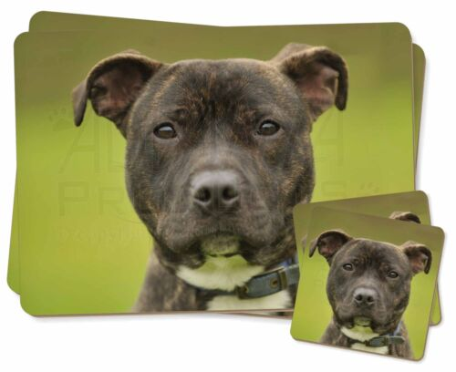 AD-SBT14PC Staffordshire Bull Terrier Twin 2x Placemats+2x Coasters Set in Gift