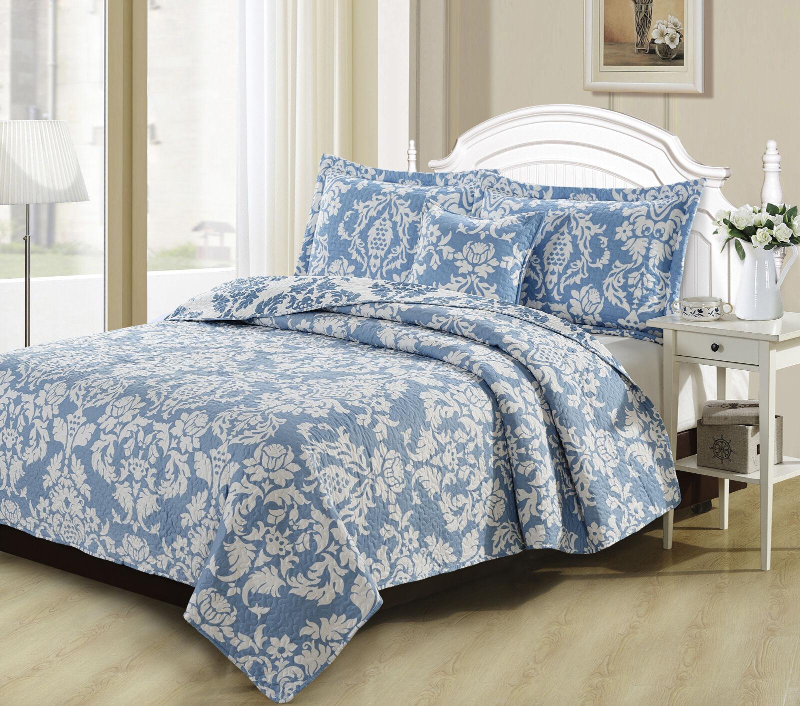 DaDa Bedding Elegant Jacquard Damask Blau Floral Quilted Bedspread Coverlet Set