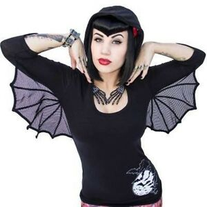 Women's Bat Wing Hooded Tunic Top Kreepsville Gothic Horror Fashion