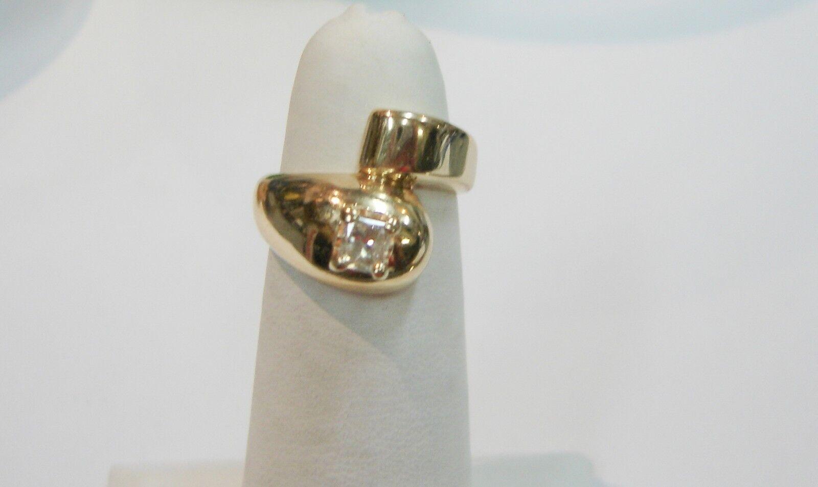 14K YELLOW gold SOLITAIRE PRINCESS CUT DIAMOND RING SIZE 4 3 4-5 N238-K