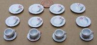 1:12 Scale 16 Piece Red Floral Motif Ceramic Tea Set Dolls House Miniature N4