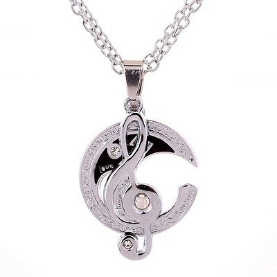 """Stainless Steel Couple Matching Music Note """"I Love You"""" Pendant Necklace Set"""