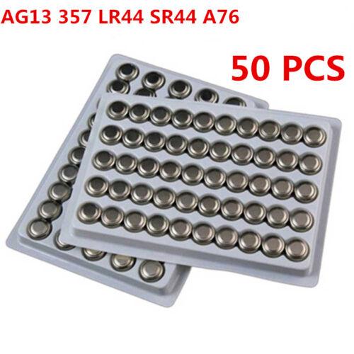 50 X AG13 357 LR44 SR44 A76 LR1154 Knopf Batterien Knopfzellen Alkalisch He #wsh